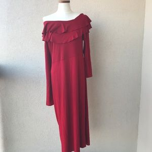 NWT ASOS Red Ruffle Off Shoulder Midi Dress